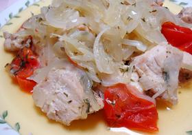 鶏胸肉&トマト&新玉葱の酒蒸し❤