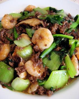 ちんげん菜と小えびの挽き肉炒め
