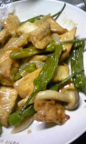 厚揚げと野菜のニンニク生姜味噌炒め