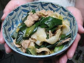 豚バラの葉玉ねぎ炒め煮