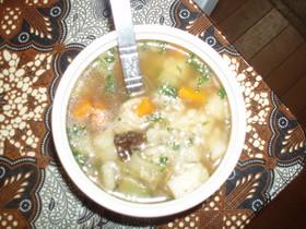 押し麦と野菜のスープ♪ポーランド料理