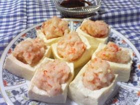 レンジで簡単♪豆腐のえび団子のせ