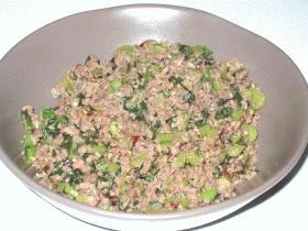 白飯の友達♪野沢菜漬けと合びき肉の炒め