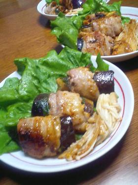 創作料理☆太っちょナスの豚肉巻き