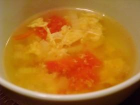 トマトとセロリのふわふわ玉子スープ♥
