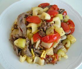 トマト&セロリ&牛肉のクミン炒め