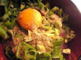 ハマチとめかぶと卵の海鮮丼