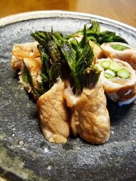 タラの芽の豚味噌巻き
