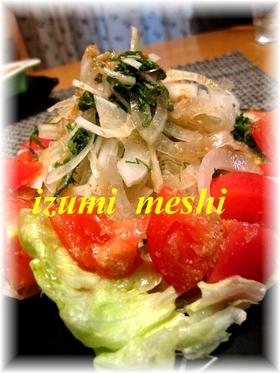 トマトと新タマネギのパクパクサラダ