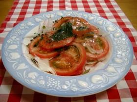 新玉ねぎとトマトの冷製❀バジル風味