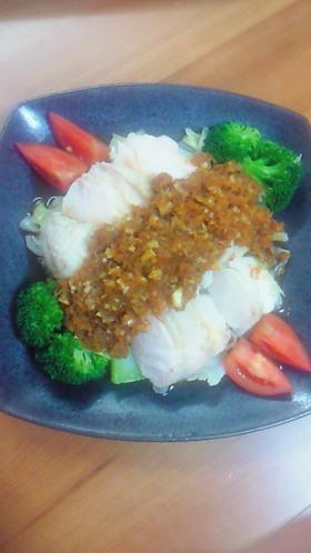 茹で鶏と温野菜〜特製人参ダレで