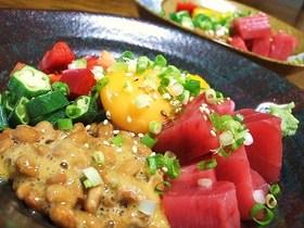 居酒屋メシ♥マグロ&納豆バクダン☆