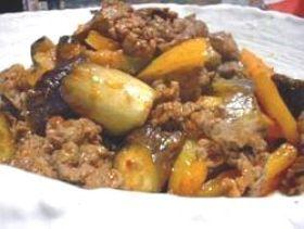 牛肉とナスの味噌炒め。