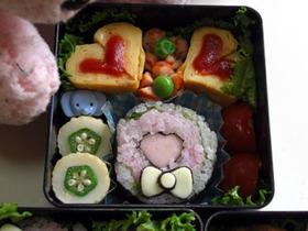 バレンタインに♪ハートの飾り寿司弁当
