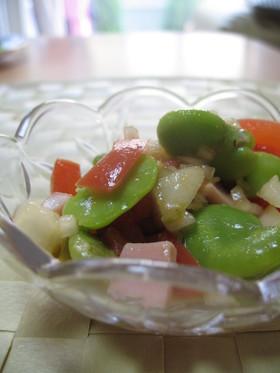 新タマ、そら豆、トメイト~の旬野菜マリネ