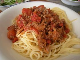 トマト缶&ひき肉でボロネーゼ!