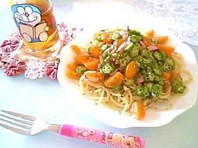 トマトとオクラの冷製パスタ