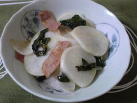 カブ&ベーコン酢醤油炒め
