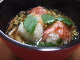 ベーコンと野沢菜おにぎりのスープ飯