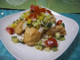 ♪彩り野菜と鶏のささみ揚げ♪