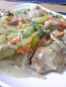 簡単♡青梗菜と鶏肉のミルク煮♡