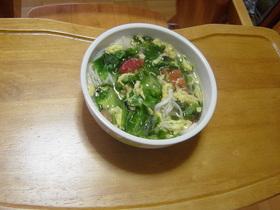 トマトレタス卵スープメン飯