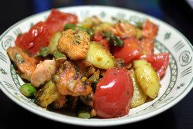 サーモンと野菜のジェノベーゼソテー