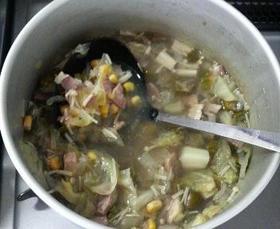 野菜たっぷりスープ☆おくらコーンキャベツ
