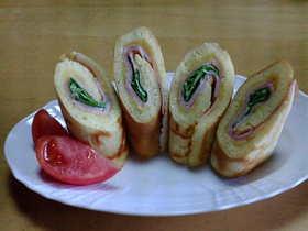 卵焼き器でロールパン