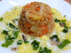 豆腐入りカレー炒飯のトロトロ玉子スープ飯