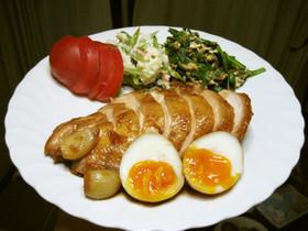 簡単 鶏チャーシュー(半熟卵入り)