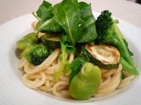 グリーン野菜のシンプルパスタ レモン風味