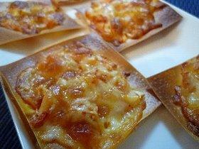 シュウマイの皮のキムチーズピザ