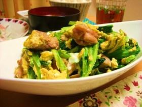 小松菜と鶏肉の卵炒め