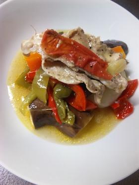 たっぷりの野菜。イタリアンな焼き蒸し。