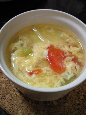 トマト&レタスのたまごスープ