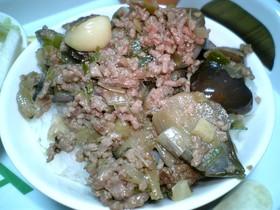 ナスとひき肉のがっつり飯