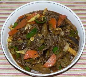 牛肉とナスの中華風炒めカレー