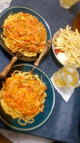 野菜たっぷり☆トマトクリームパスタ