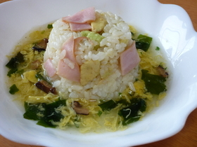 アボガドとハムのトロ~リ玉子スープご飯