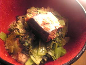 小松菜と秋刀魚の丼