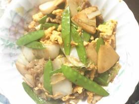 白菜とキヌサヤと豚肉の野菜炒め