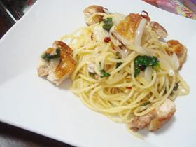 鶏肉と大葉のペペロンチーノ
