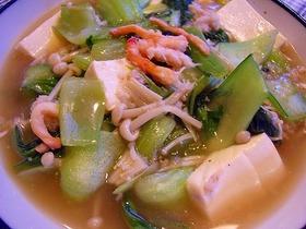 青梗菜と豆腐のカニあんかけ