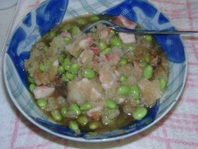 練り物の天ぷらと枝豆のおろし合え♪