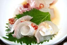 タイ風で鯛の刺身
