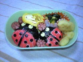 キャラ弁(てんとう虫)