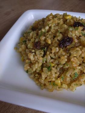 玄米炒飯☀スパイシーなコーンチャーハン