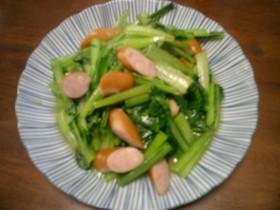 シャンタンで小松菜とウィンナーの炒め物