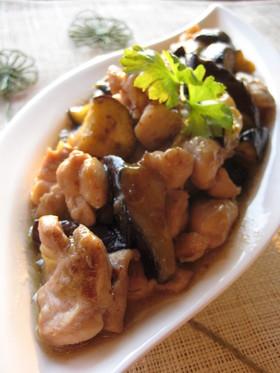 鶏肉と茄子のマスタード醤油炒め